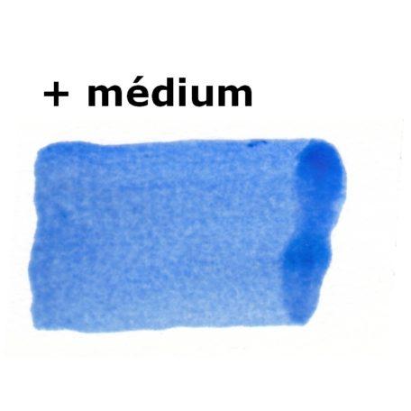 Échantillon de peinture encaustique bleu de cobalt pur + médium + blanc