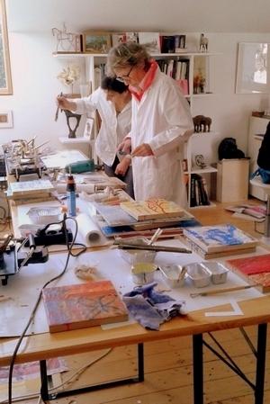 Stagiaires d'une formation peinture à l'encaustique