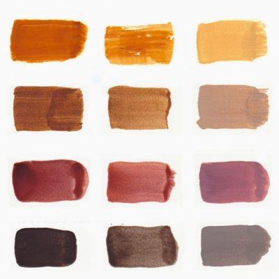 Palette des couleurs à l'encaustique aux pigments terre